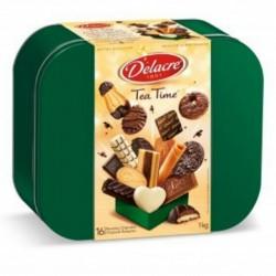 Delacre Tea Time Exquisite European Biscuit Assortment Tin Box Net Weight 35.3 OZ (1 kg)