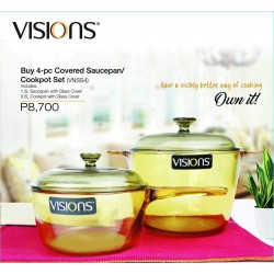 Visions 4-pc Covered Saucepan Cookpot Set