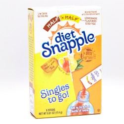 Diet Snapple Singles To-Go Drink Mix Half Lemonade Flavored Iced Tea 6 Sticks 17.4 g