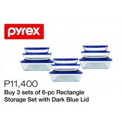 Pyrex 3-Sets of 6-pc Rectangle Storage Set with Dark Blue Lid