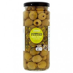 Tesco Pitted Green Olives 340g 