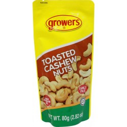 Growers Toasted Cashew Nuts Family Size 100g/80g